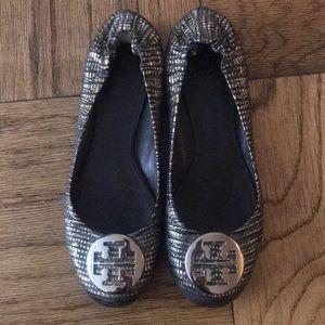 Tory Burch Shoes - Gold and Black Tory Burch Flats